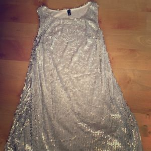 Dresses & Skirts - Silver Matte Sequined Short dress